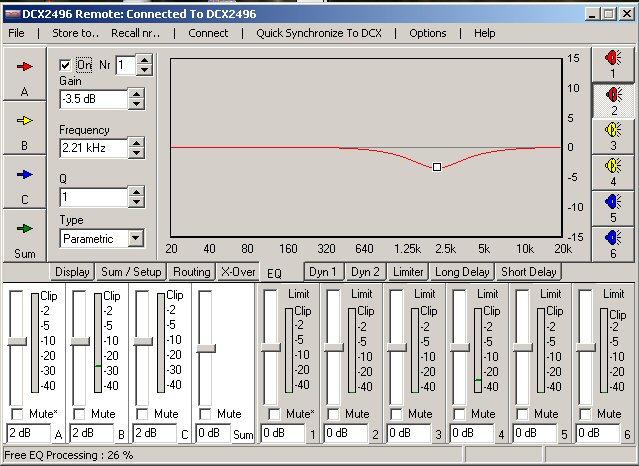 Filtre actif numérique DCX 2496 Eq_on10