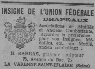 Insigne de boutonnière Union Fédérale Journ10