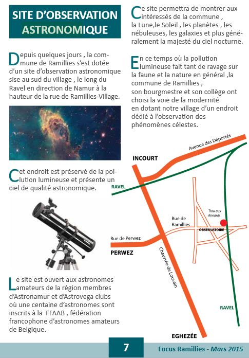 Le site d'observation de Ramillies 113