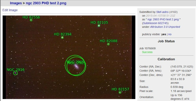 1er test auto guidage PHD guiding Ngc_2913