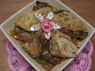 Aiguillettes de poulet aux trois légumes.photos. Dscf5323