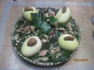 Épinards et châtaignes aux œufs.photos. Epinar18
