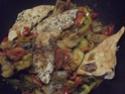 Aiguillettes de poulet aux trois légumes.photos. 11175010