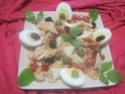 Entrée de saumon rose aux œufs. photos. Entree11