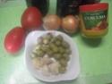 Escalopes de poulet garnies de légumes. photos. Escalo46