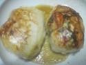 Escalopes de poulet garnies de légumes. photos. Escalo57