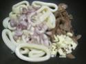 Anneaux de calamar aux champignons pleurote.basilic. photos. Img_6561