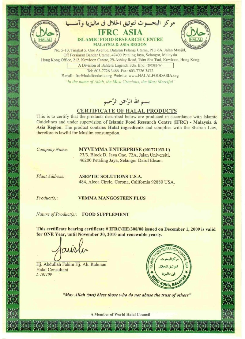 VEMMA FORMULAR HAS BEEN CERTIFIED BY ISLAMIC FOOD RESEARCH CENTRE OF ASIA REGION AND IS HALAL COMPLIANT Vemma_10