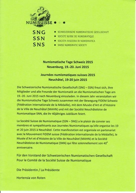 Bourse de Neuchâtel et journées numismatiques suisses 2015 Invita11