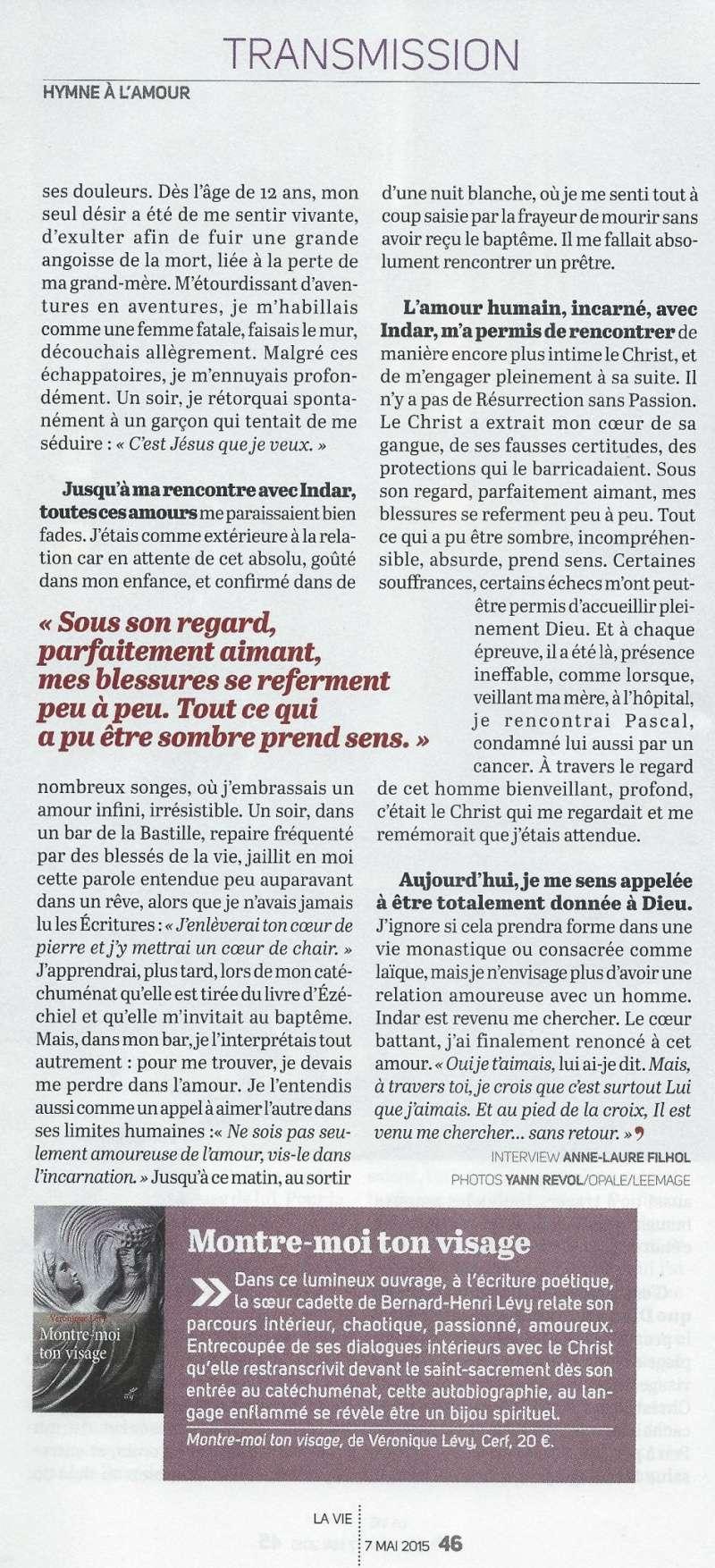 La très touchante conversion de Véronique Lévy au Catholicisme - Page 2 Lavie410