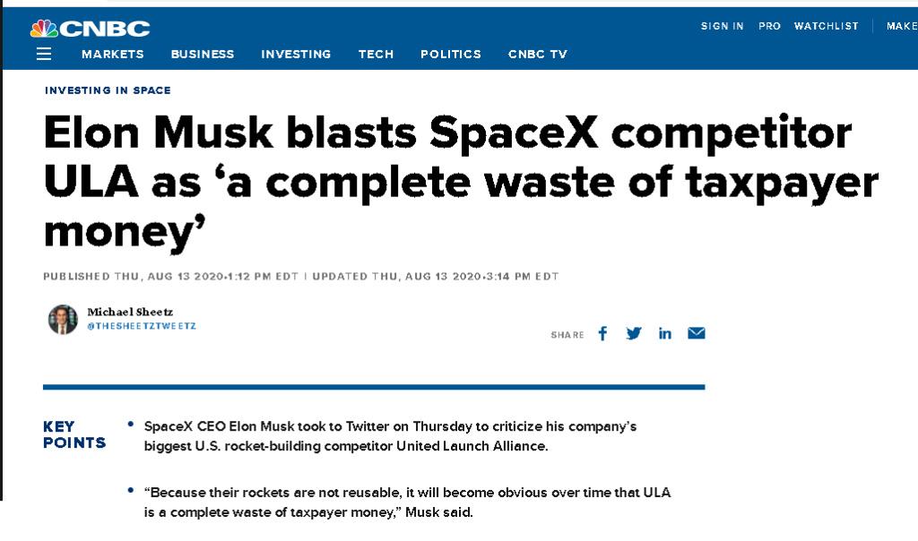Article, Elon Musk critique ULA.  Bbbbbb10