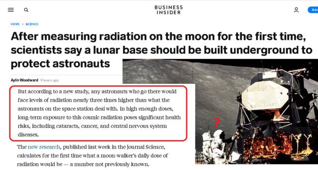 Radiations sur le sol lunaire : danger. Nouvelle étude.  Moon-r10