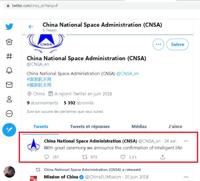 CNSA, un tweet intriguant ? [Résolu : faux compte twitter] Tweetc11