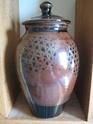 Large Tenmoku Glaze Lidded Jar Very Clear Mark... AR? HR? Lovely piece.. 00112