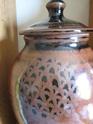 Large Tenmoku Glaze Lidded Jar Very Clear Mark... AR? HR? Lovely piece.. 00211