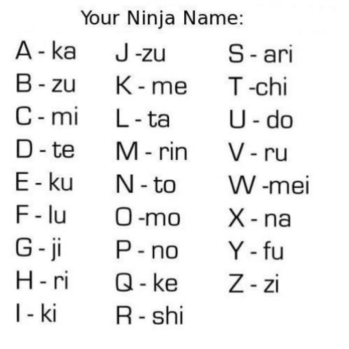 What's Your Ninja Name? C_dat122