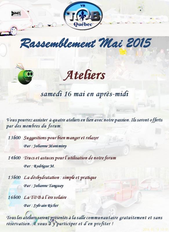 RASSEMBLEMENT MAI 2015 Informations officielles Atelie10