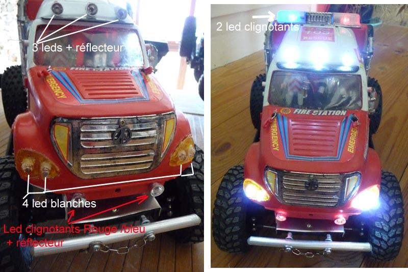 Fabriquer éclairage Led pour Scx10 et Scale Trial : feux avant, feux arrière, spot de toit, clignotants, gyrophares et feux de recul Pas Cher 7-cami10