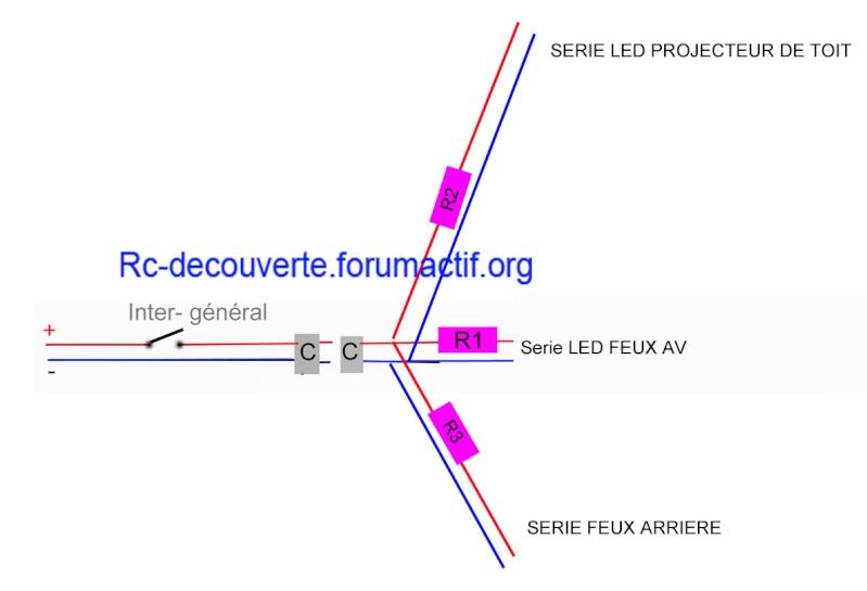 Fabriquer éclairage Led pour Scx10 et Scale Trial : feux avant, feux arrière, spot de toit, clignotants, gyrophares et feux de recul Pas Cher Schema18
