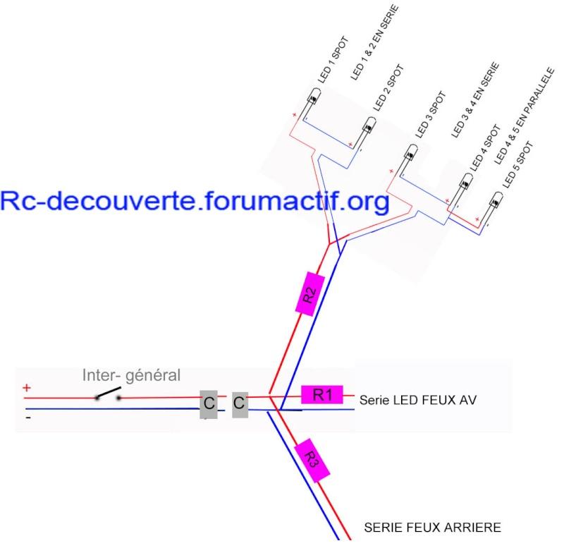 Fabriquer éclairage Led pour Scx10 et Scale Trial : feux avant, feux arrière, spot de toit, clignotants, gyrophares et feux de recul Pas Cher Schema20