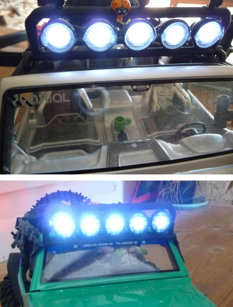 Fabriquer éclairage Led pour Scx10 et Scale Trial : feux avant, feux arrière, spot de toit, clignotants, gyrophares et feux de recul Pas Cher Spot-t10