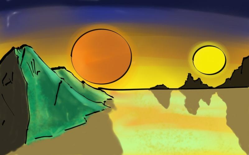 soleils couchants sur planète imaginaire Coucha10