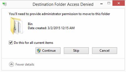 Destination folder: access denied - fix. Screen14