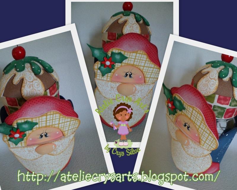 Frasco decorado: Noel cupcake 8iy9tb10