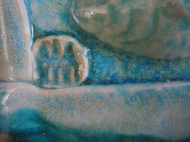 Crystalline/Raku fish plaque Img_1714