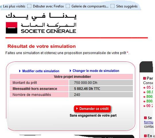 Credit immobilier Maroc taux et taxes comparaisons Socgen10