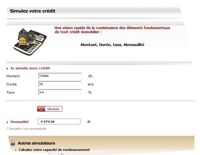 Credit immobilier Maroc taux et taxes comparaisons Wafaim10