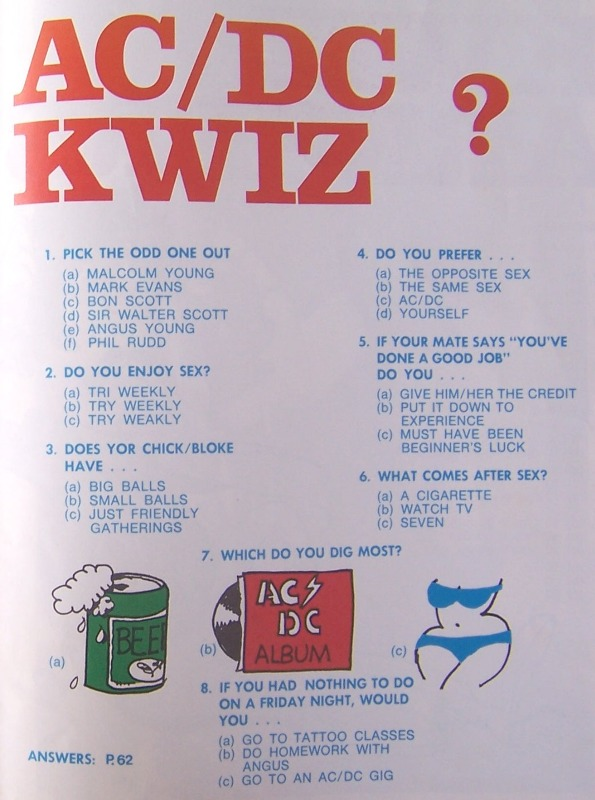 "Kwiz....""the AC/DC book"" (songbook) 235"