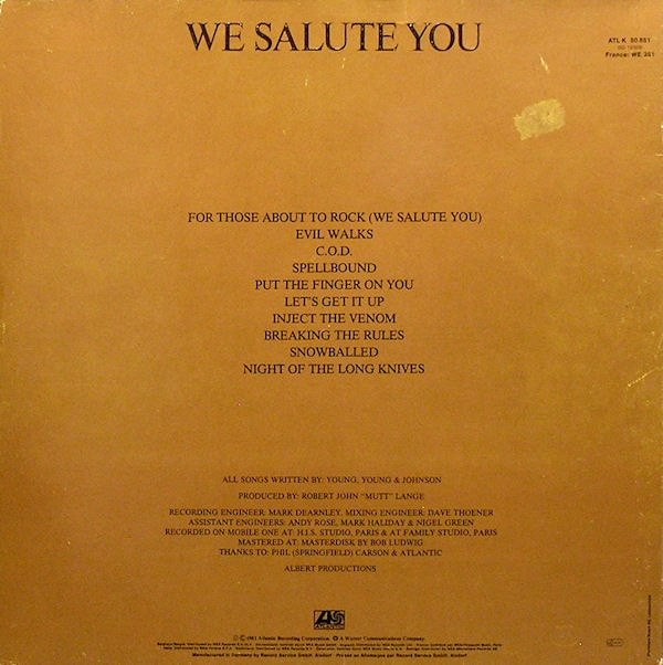 1981 - For those about to rock (we salute you) R-198311