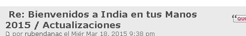 Bienvenidos a India en tus Manos 2015 / Actualizaciones A310