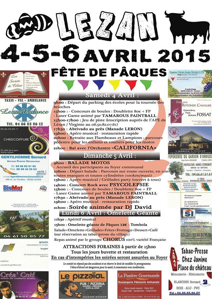 LEZAN, Fête de pâques 4,5,6 avril, ABRIVADO AU PRE Affich10