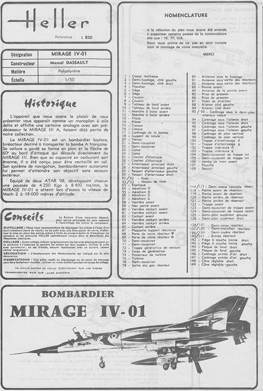 DASSAULT MIRAGE IV-01 1/50ème Réf L 830 Notice Mirage10