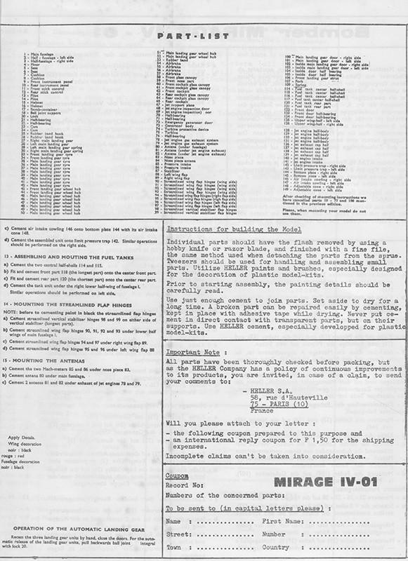 DASSAULT MIRAGE IV-01 1/50ème Réf L 830 Notice Mirage23