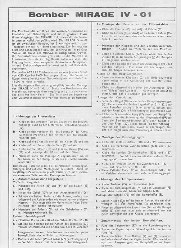 DASSAULT MIRAGE IV-01 1/50ème Réf L 830 Notice Mirage24