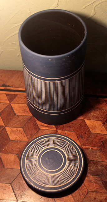 MCM Sgraffito Lidded Pot stamped Keith Jones for Falconer  Kj310