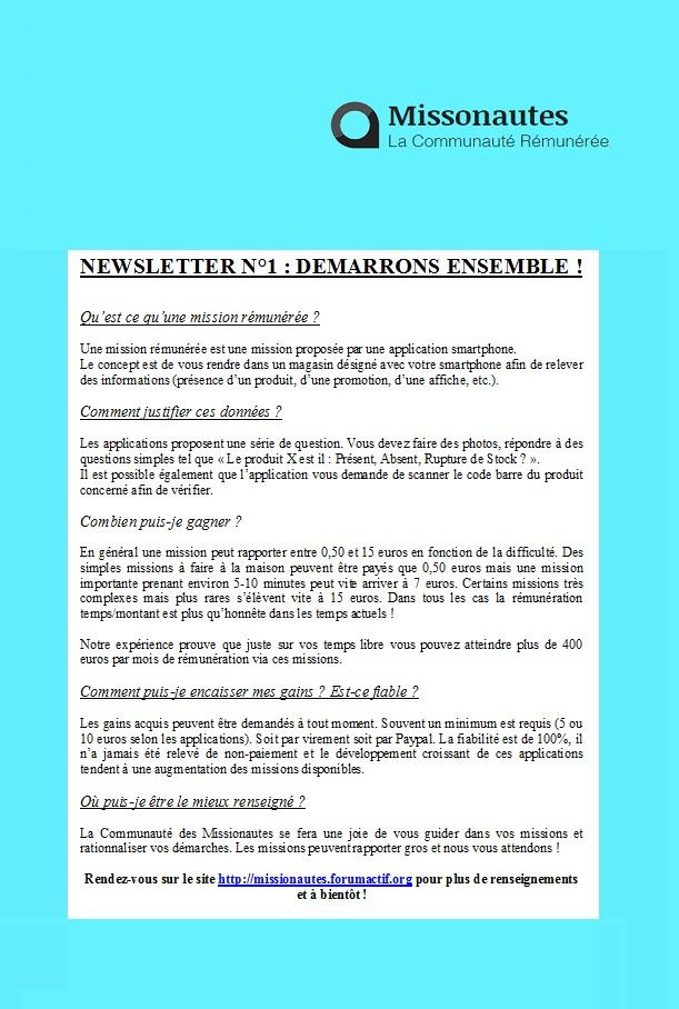 Newsletter n°1 - Démarrons Ensemble ! Newsle11