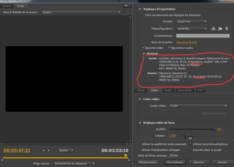 Lag vidéo après exportation avec adobe première Captur10