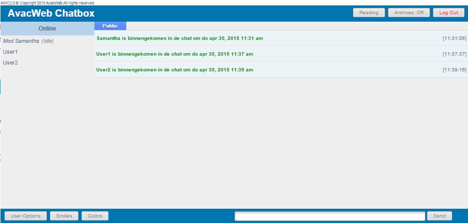 De Chatbox: Standaard Gebruikershandleiding Awc310