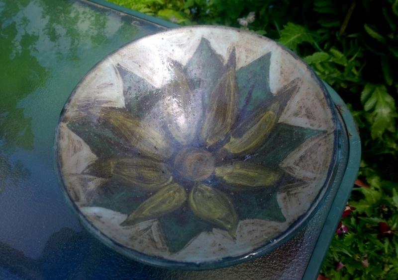 Large studio pottery bowl with big flower decoration incised Paddy on base Wp_20117