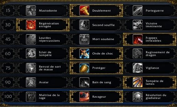 Guerrier Protection PVE Talent11