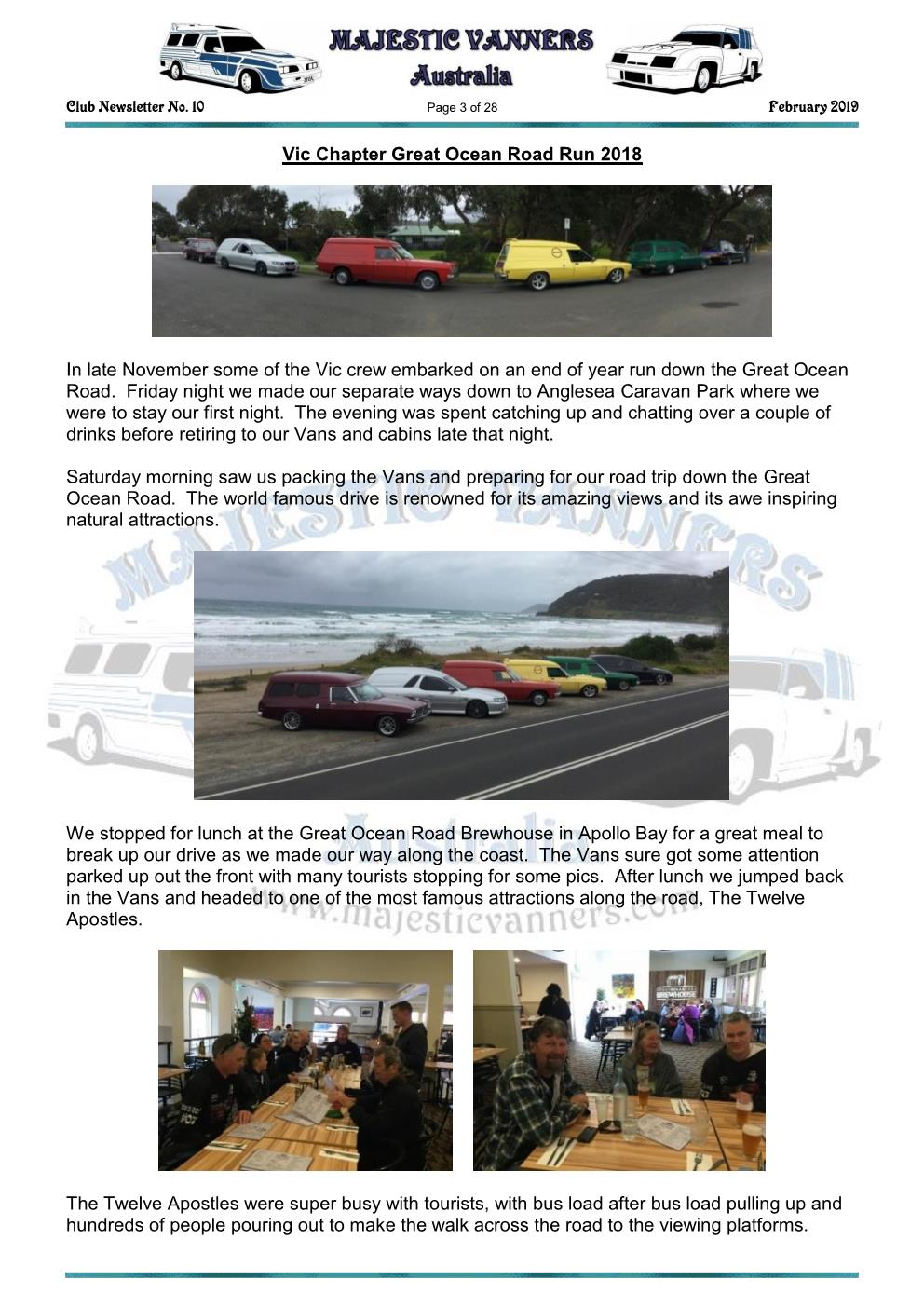 MAJESTIC VANNERS Newsletter Issue No: 10 February 2019 Mv_new11