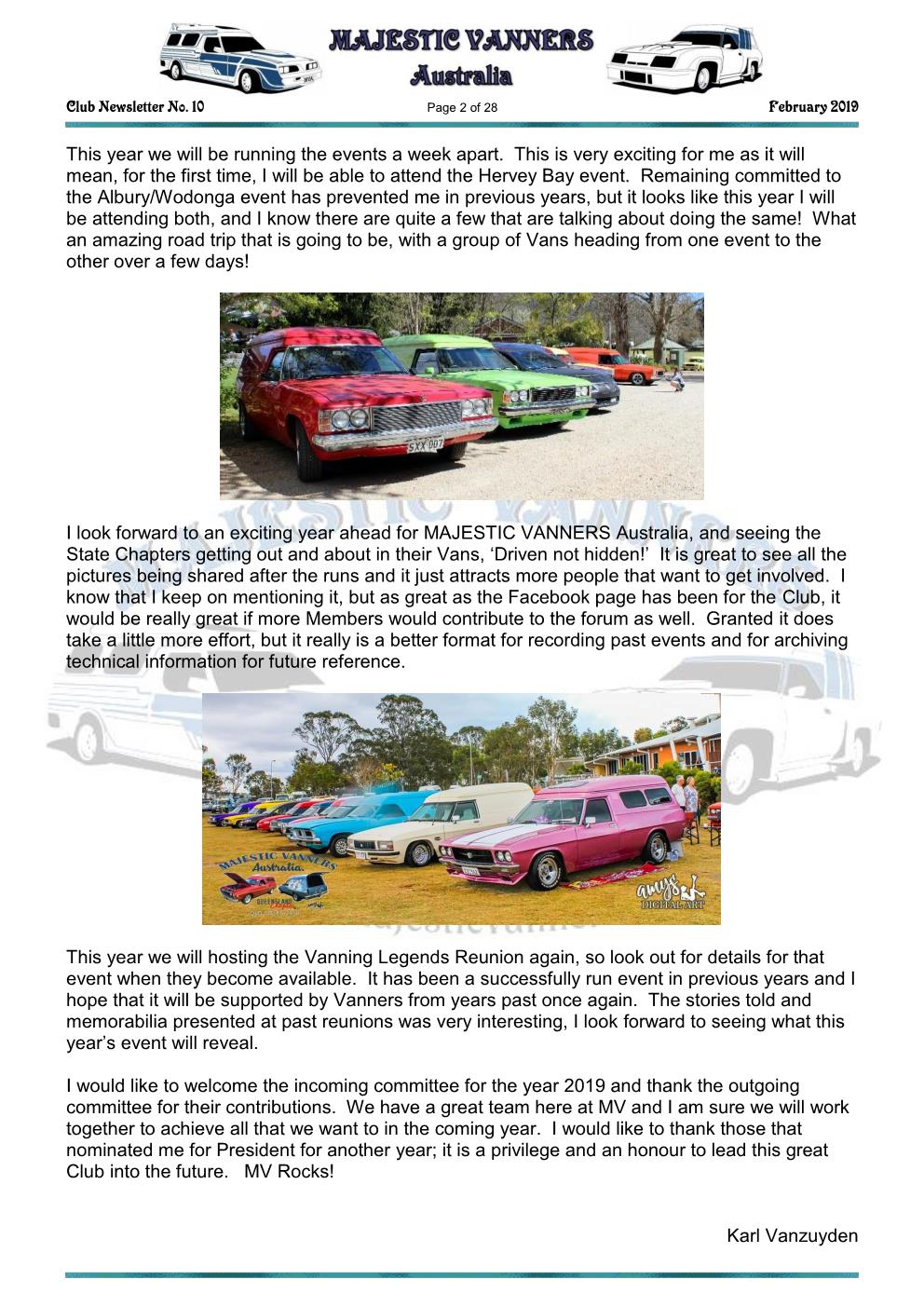 MAJESTIC VANNERS Newsletter Issue No: 10 February 2019 Mv_new12