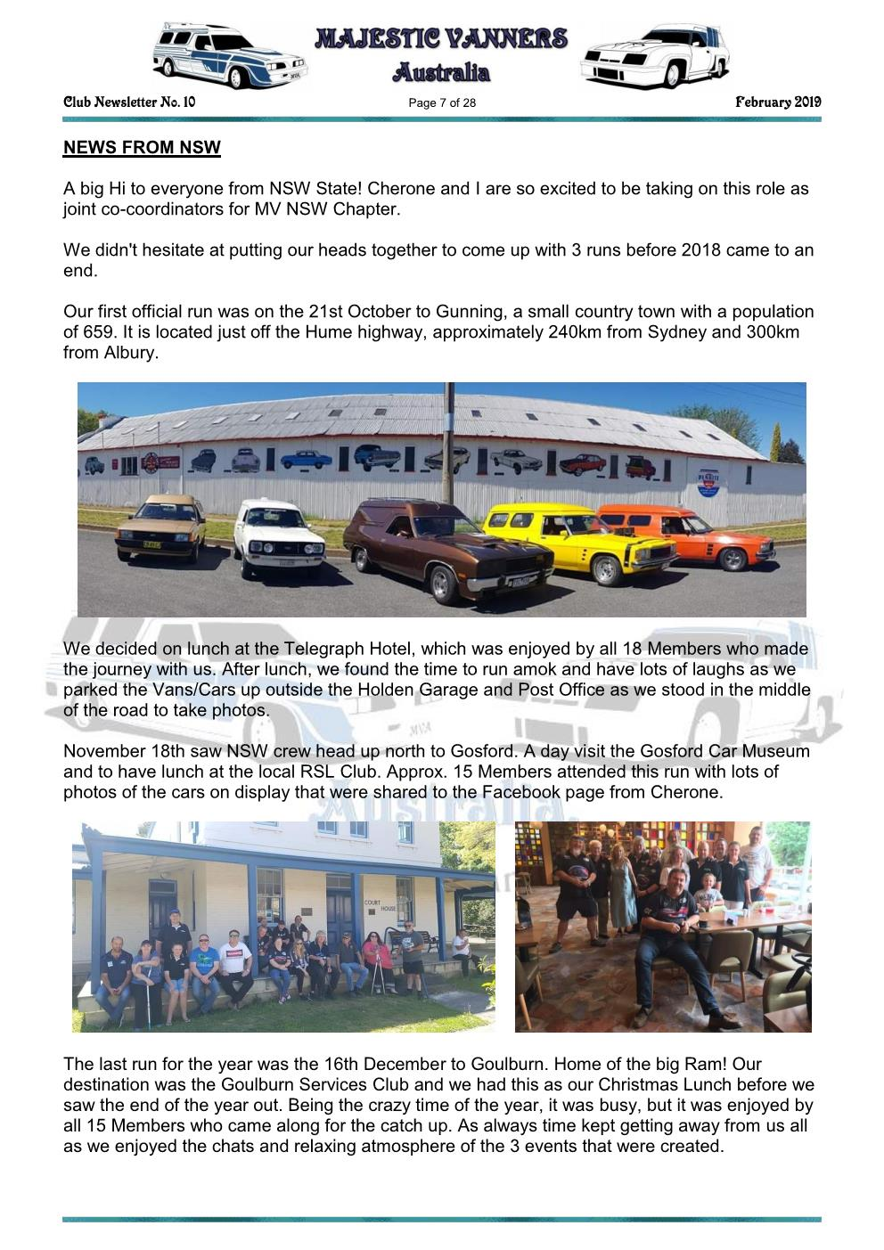 MAJESTIC VANNERS Newsletter Issue No: 10 February 2019 Mv_new16