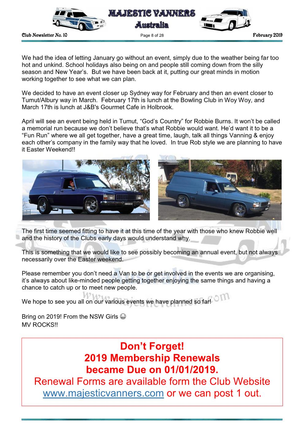 MAJESTIC VANNERS Newsletter Issue No: 10 February 2019 Mv_new18