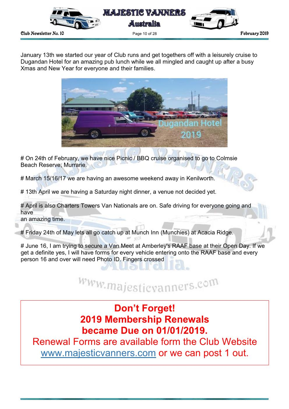 MAJESTIC VANNERS Newsletter Issue No: 10 February 2019 Mv_new19