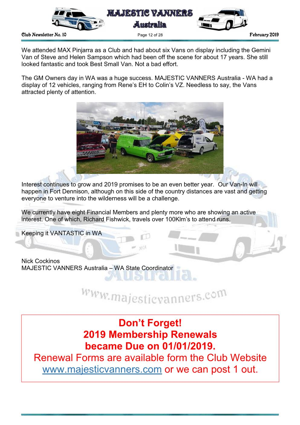 MAJESTIC VANNERS Newsletter Issue No: 10 February 2019 Mv_new21